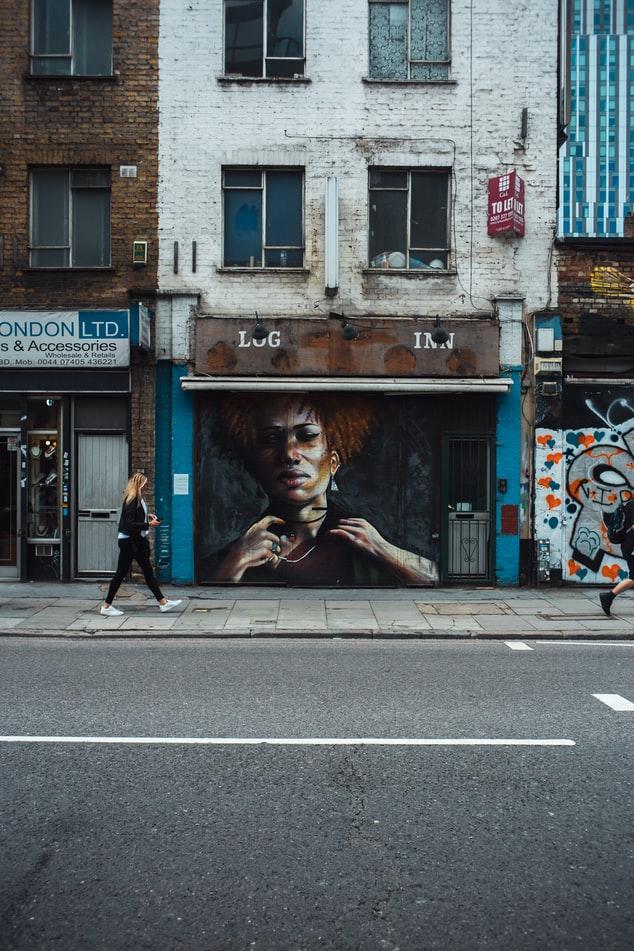 graffiti wall walking woman