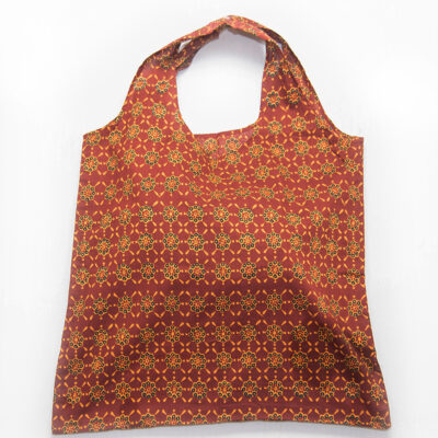 oval handle tote bag rust