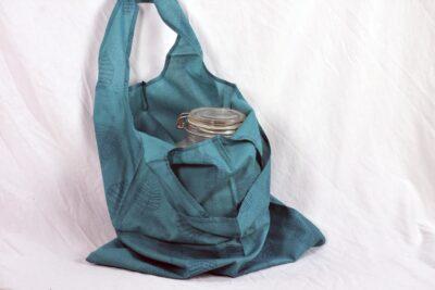 teal oval handle tote bag