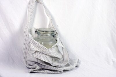 white oval handle tote bag
