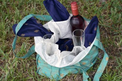 tote bag with pockets wine picnic