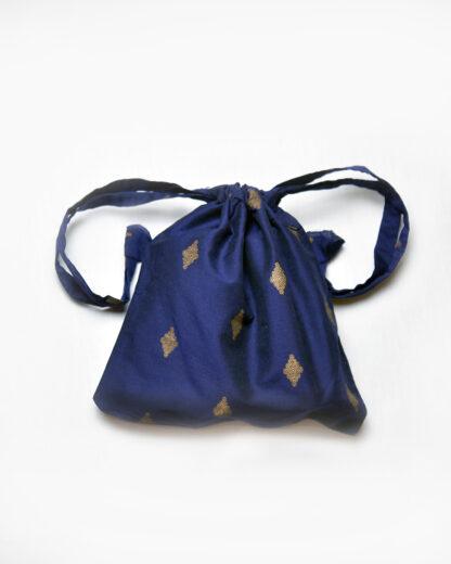 small drawstring bag navy and gold