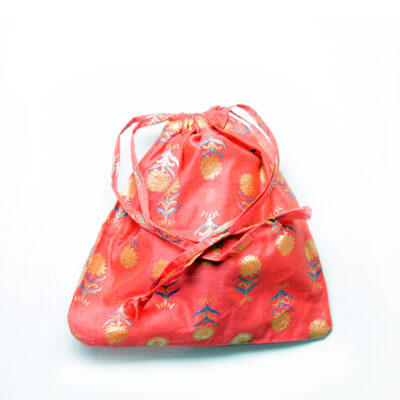 small drawstring bag coral and gold