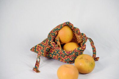 orange veggie bag fabric